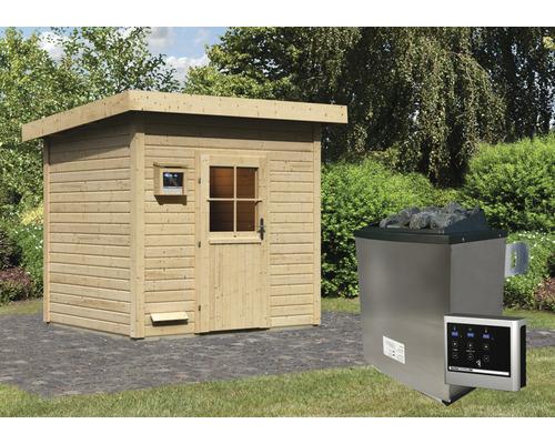 Chalet sauna Woodfeeling Turmalin 3 avec poêle 9kW et commande externe, sans vestibule, avec porte en bois avec verre à isolation thermique