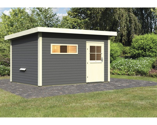 Chalet sauna Karibu Fuchsit 3 sans poêle, avec vestibule et porte en bois avec verre à isolation thermique anthracite/blanc