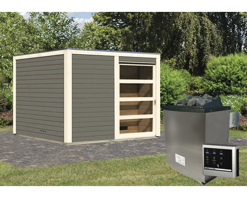 Chalet sauna Karibu Zirkon 1 avec poêle 9kW et commande externe, avec entrée et porte en bois avec verre transparent anthracite/blanc