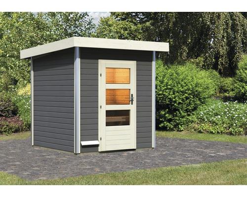 Chalet sauna Karibu Opal 2 sans poêle, avec porte en bois avec verre transparent anthracite/blanc