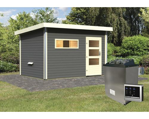 Chalet sauna Karibu Skrollano 3 avec poêle 9kW et commande externe, avec vestibule et porte en bois avec verre à isolation thermique, anthracite/blanc