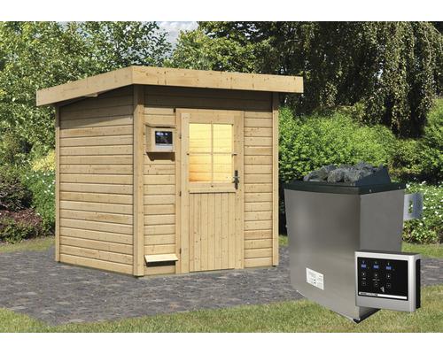 Chalet sauna Woodfeeling Turmalin 2 avec poêle 9kW et commande externe, sans vestibule, avec porte en bois avec verre à isolation thermique