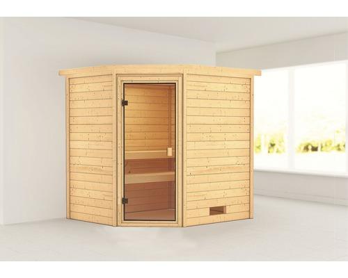 Sauna en madriers Woodfeeling Elea sans poêle ni couronne, avec porte entièrement vitrée couleur bronze