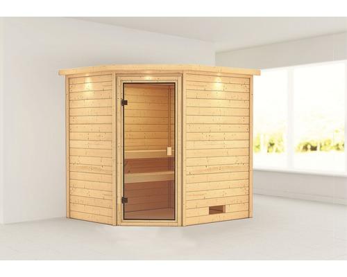Sauna en madriers Woodfeeling Elea sans poêle, avec couronne et porte entièrement vitrée couleur bronze