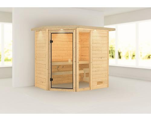 Sauna en madriers Woodfeeling Jada sans poêle, avec couronne et porte entièrement vitrée couleur bronze