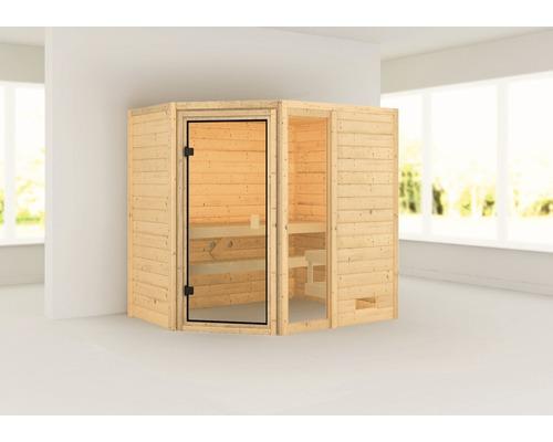 Sauna en madriers Woodfeeling Jada sans poêle ni couronne, avec porte entièrement vitrée couleur bronze