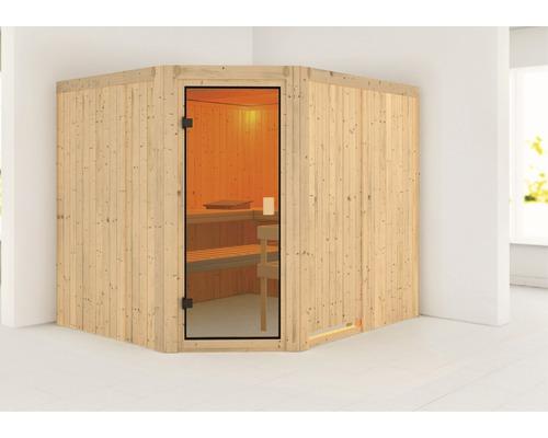 Sauna modulaire Woodfeeling Horna sans poêle ni couronne, avec porte entièrement vitrée couleur bronze