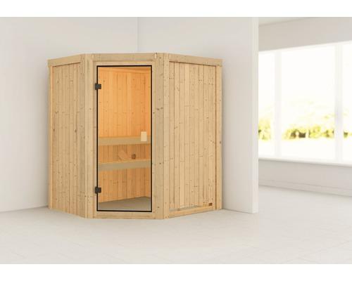 Sauna modulaire Woodfeeling Faurin sans poêle ni couronne, avec porte entièrement vitrée couleur bronze