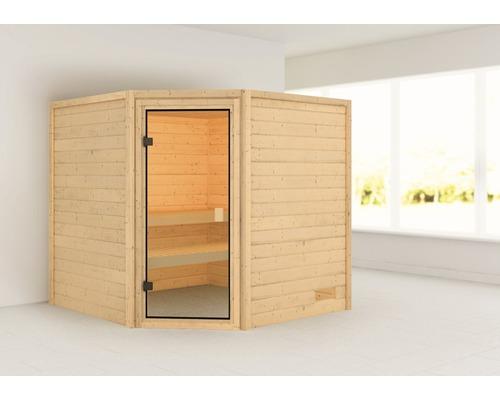 Sauna en madriers Woodfeeling Tida sans poêle ni couronne, avec porte entièrement vitrée couleur bronze