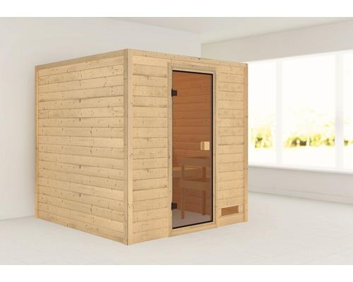 Sauna en madriers Woodfeeling Jara sans poêle ni couronne, avec porte entièrement vitrée couleur bronze