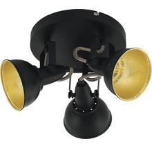 Spot de plafond FLAIR 3 ampoules rond Alrakis noir/mat/or Ø 210 mm-thumb-1