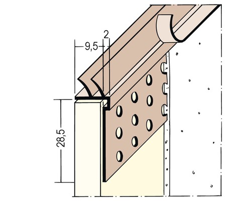 Profilé de raccordement PVC PP 9,5 mm avec lèvre d''étanchéité longueur 3,00 m botte = 35 pièces-0