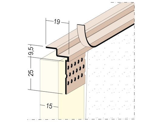 Profilé de raccordement PVC PP 15 mm longueur 3,05 m botte = 40 pièces-0