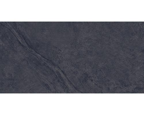Carrelage pour mur et sol en grès cérame fin Onyx noir verre poli rectifié 30x60cm