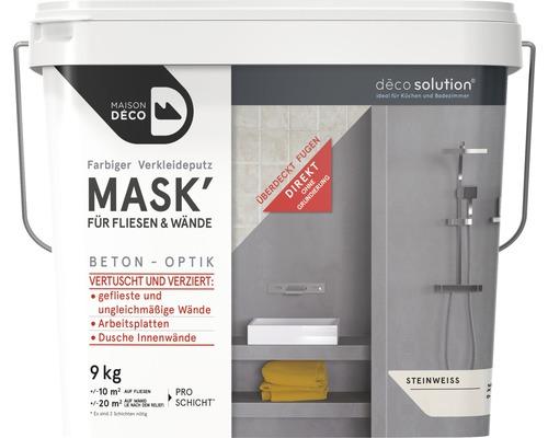 Enduit d''habillage coloré Maison Deco MASK'' à effets pour carrelage blanc pierre 9 kg