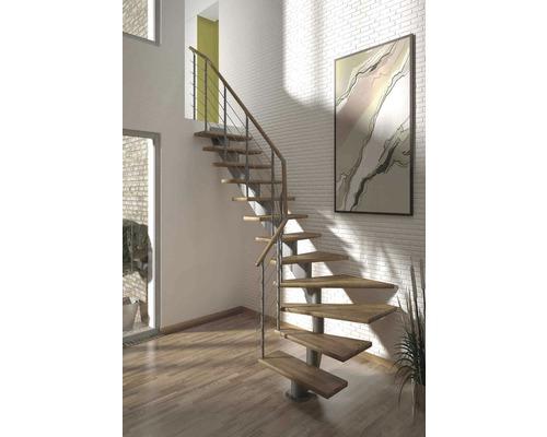 Escalier à limon central Pertura Alena 1/4 tournant avec balustrade en acier inoxydable 11 montées 75 cm chêne bois lamellé-collé/gris
