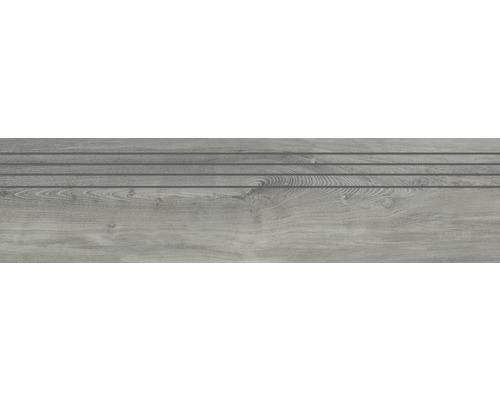 Carrelage d''escalier en grès cérame fin San Remo Ash 29.5x120 cm