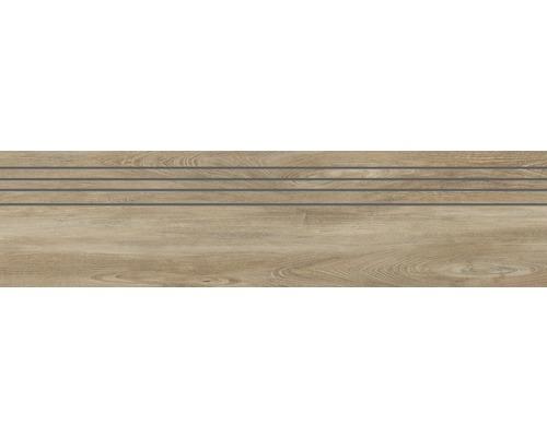 Carrelage d''escalier en grès cérame fin San Remo Teak 29.5x120 cm