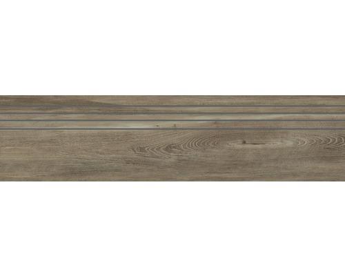 Carrelage d''escalier en grès cérame finSan Remo Walnut 29.5x120 cm
