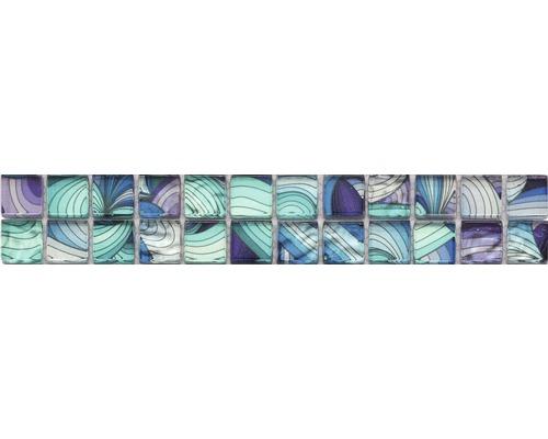 Frise en verre blanc/bleu/lilas mix 4,8x29,8cm