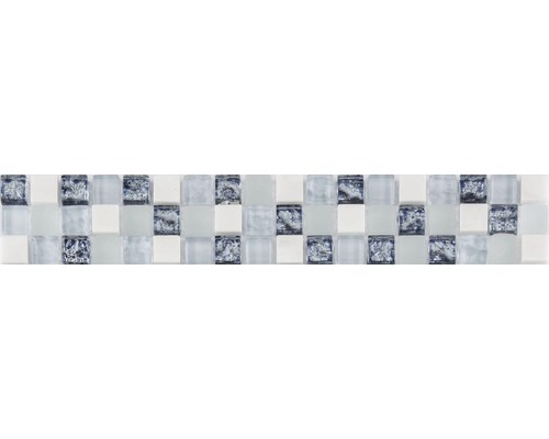 Frise en verre avec pierre naturelle bleu mix 4,8x29,8cm