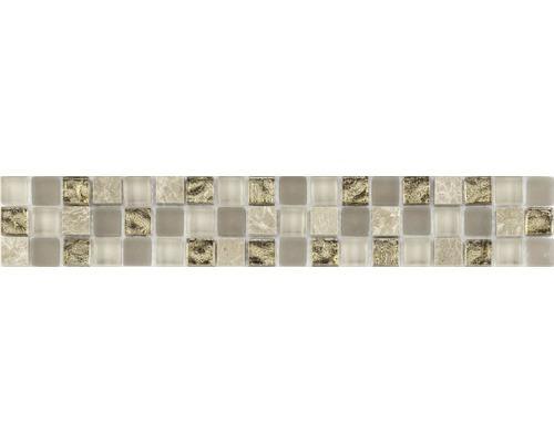 Frise en verre avec pierre naturelle crème mix 4,8x29,8cm