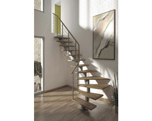 Escalier à limon central Pertura Alena 1/4 tournant avec balustrade en acier inoxydable 14 montées 75 cm chêne bois lamellé-collé/gris