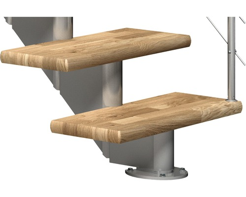 Escalier à limon central Pertura Alena 1/4 tournant avec balustrade en acier inoxydable 11 montées 85 cm chêne bois lamellé-collé/gris