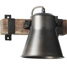 Spot mural à 1 ampoule hxl 250/240 mm Decca bois/métal marron/noir-acier-thumb-2