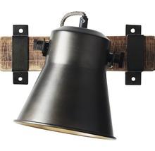 Spot mural à 1 ampoule hxl 250/240 mm Decca bois/métal marron/noir-acier-thumb-4
