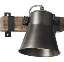 Spot mural à 1 ampoule hxl 250/240 mm Decca bois/métal marron/noir-acier-thumb-5