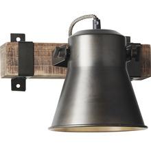 Spot mural à 1 ampoule hxl 250/240 mm Decca bois/métal marron/noir-acier-thumb-8