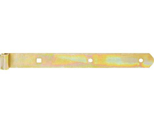 Paumelle de volet Type 4 de forme droite, légère, 300x10x30mm, galvanisée jaune