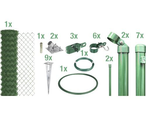 Kit de grillage simple torsion maillage 60mm, 15x1m, vert, à visser