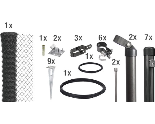 Kit de grillage simple torsion maillage 60 mm 15x1.5 m anthracite à visser