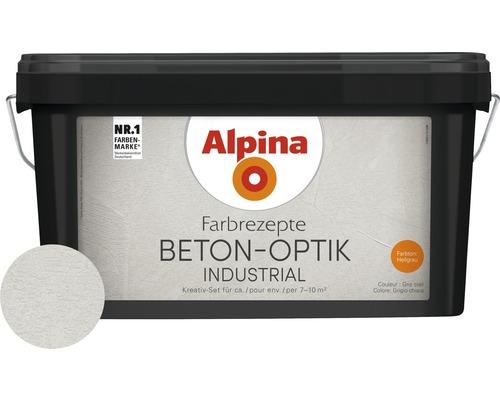 Peinture à effet Alpina Farbrezepte effet béton kit complet gris clair avec truelle Alpina