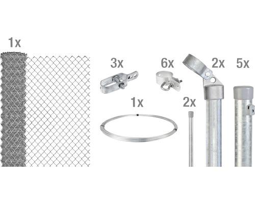 Kit de grillage simple torsion maillage 60mm, 10x0,8m, galvanisé à chaud, à sceller dans le béton