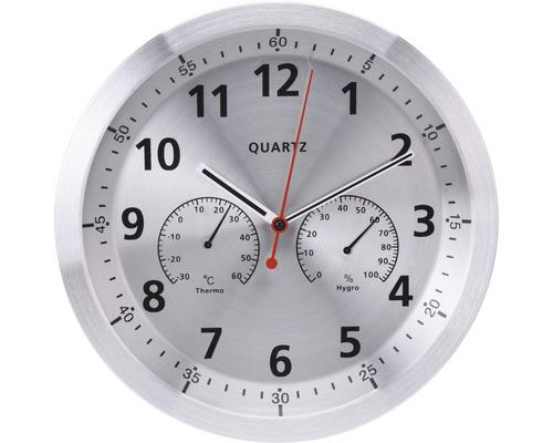 Horloge murale argent avec hydro-thermomètre Ø 35 cm