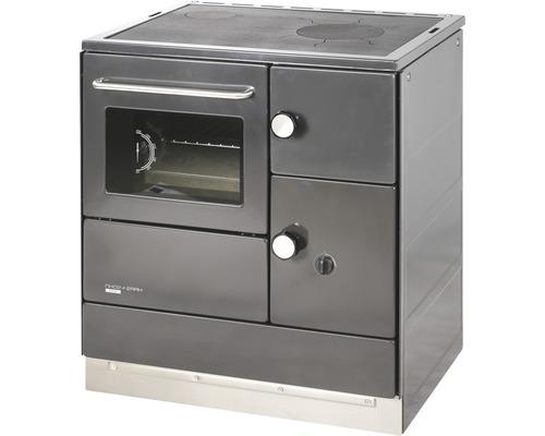 Cuisinière à feu continu Haas & Sohn HA 75.5-A anthracite four à gauche avec plan de cuisson en plaques d''acier
