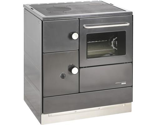 Cuisinière à feu continu Haas & Sohn HA 75.5-A anthracite four à droite avec plan de cuisson en plaques d''acier