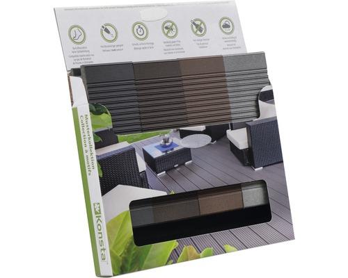 Boîte d'échantillons de Konsta planches pour terrasse WPC profilé plein 26mm
