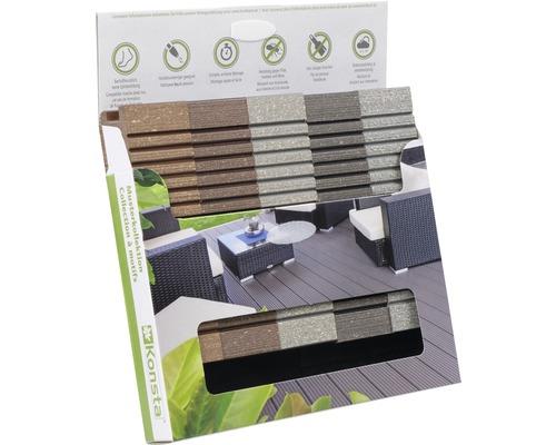 Boîte d'échantillons de Konsta planches pour terrasse WPC uniquement brossé