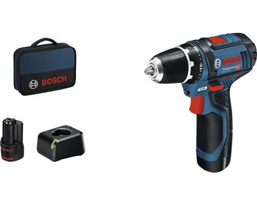 Perceuse-visseuse sans fil Bosch Professional GSR 12V-15 avec 2x batteries (2,0Ah), chargeur et sac