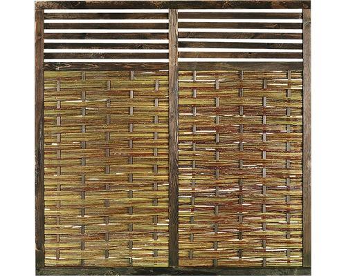 Élément de clôture, osier, avec treillis pour plantes, 180 x 180 cm