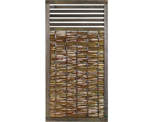 Panneau en bois, osier, 180 x 90 cm, avec treillis pour plantes