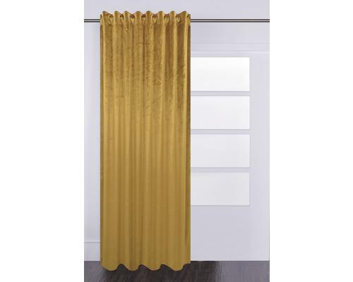 Rideau avec galon fronceur Velvet jaune moutarde 140x280 cm