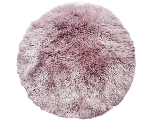 Fourrure synthétique rose ronde Ø 100 cm