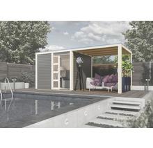 Avant-toit Karibu pour chalets saunas Zirkon 1 et Zirkon 2 200x304x248cm ivoire-thumb-1
