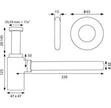 """Siphon design Square 1 1/4"""" chromé-thumb-1"""