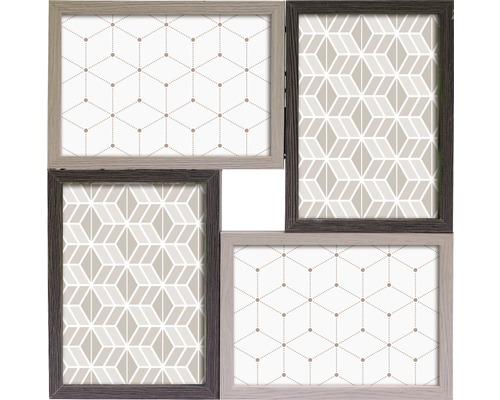 Cadre multivues Malte 4 photos gris 30x30 cm